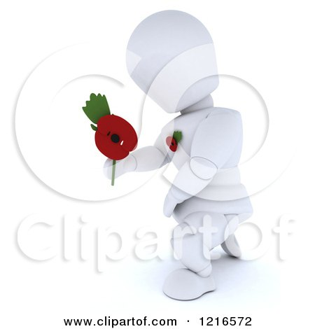 Clipart of a 3d White Character Holding out a Poppy in Remembrance - Royalty Free Illustration by KJ Pargeter