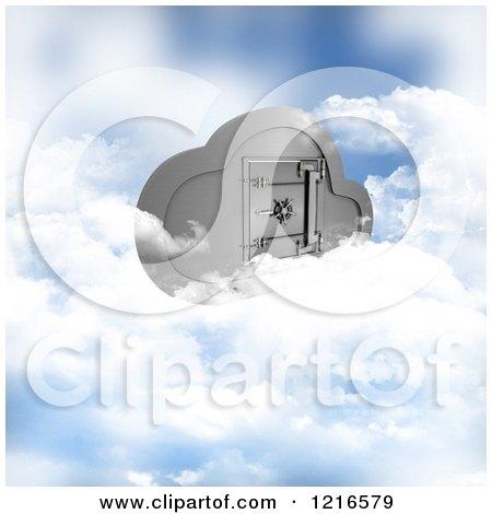 Clipart of a 3d Secure Cloud Computing Server Storage Safe - Royalty Free Illustration by KJ Pargeter