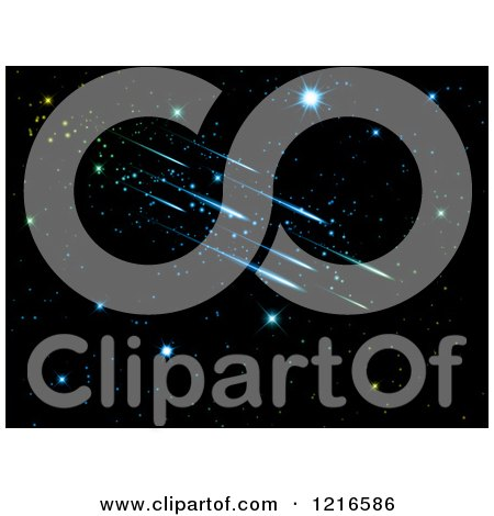 Clipart of a Night Sky with Colorful Shooting Stars - Royalty Free Vector Illustration by KJ Pargeter