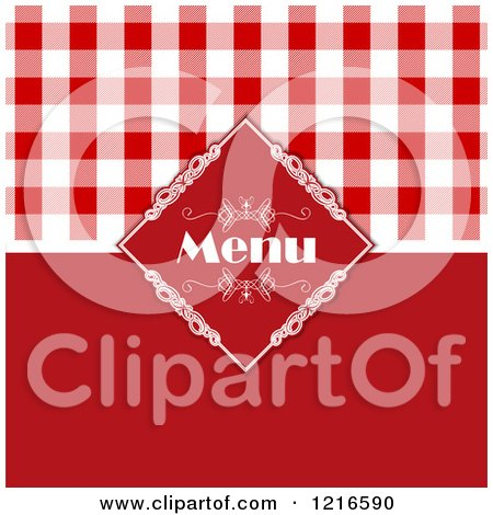 Clipart of a Red Italian Menu Cover with Gingham Plaid - Royalty Free Vector Illustration by KJ Pargeter