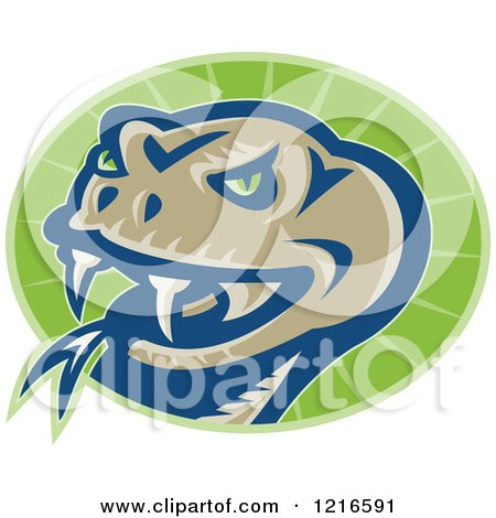 Clipart of a Viper Snake Head on a Green Oval - Royalty Free Vector Illustration by patrimonio