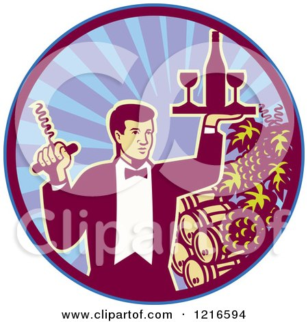 Clipart of a Retro Waiter Man Holding a Corkscrew and Wine Tray over Barrels in a Circle - Royalty Free Vector Illustration by patrimonio