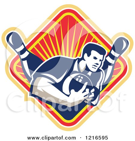 Clipart of a Retro Man Ten Pin Bowling in a Diamond of Rays - Royalty Free Vector Illustration by patrimonio