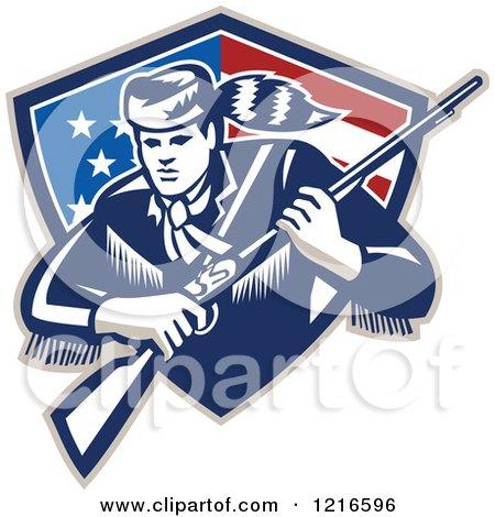 Clipart of a Retro Woodcut Frontiersman or Daniel Boone with a Musket in a Patriotic Shield - Royalty Free Vector Illustration by patrimonio