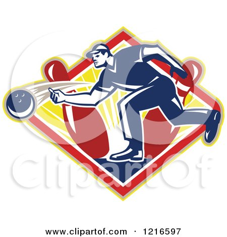 Clipart of a Retro Man Ten Pin Bowling in a Sunny Diamond - Royalty Free Vector Illustration by patrimonio