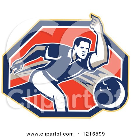Clipart of a Retro Man Ten Pin Bowling in a Hexagon - Royalty Free Vector Illustration by patrimonio