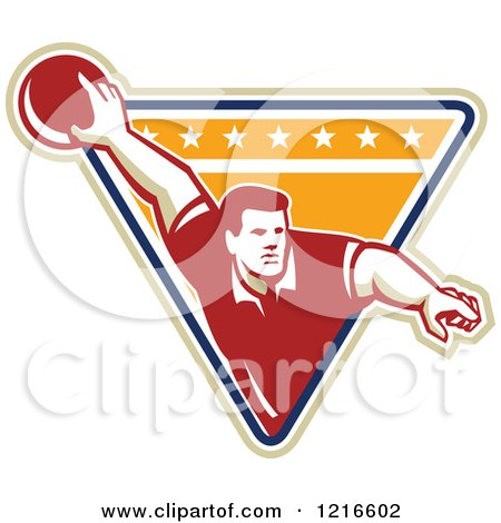 Clipart of a Retro Man Ten Pin Bowling in a Triangle - Royalty Free Vector Illustration by patrimonio
