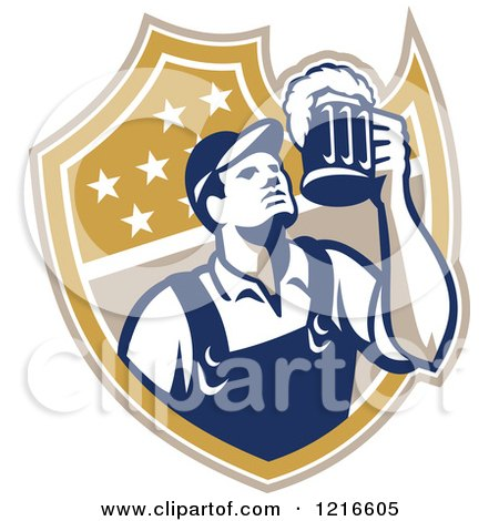 Clipart of a Retro Bartender Holding up a Beer Mug over a Shield - Royalty Free Vector Illustration by patrimonio