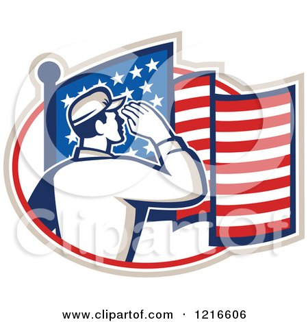 Clipart of a Retro Soldier Saluting in an Oval with an American Flag - Royalty Free Vector Illustration by patrimonio