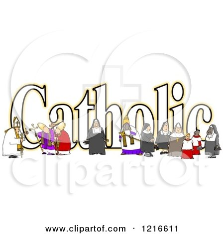 Clipart of a the Word Catholic with a Nun Bishops and Altar Boys - Royalty Free Illustration by djart