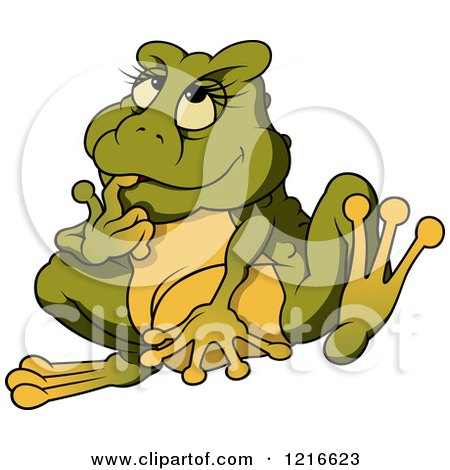 Clipart of a Female Frog Thinking - Royalty Free Vector Illustration by dero