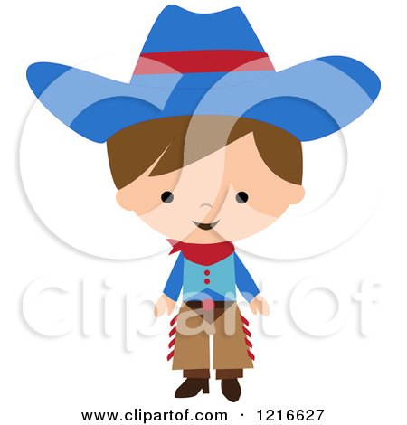 Clipart of a Happy Little Cowboy in a Blue Hat and Chaps - Royalty Free Vector Illustration by peachidesigns
