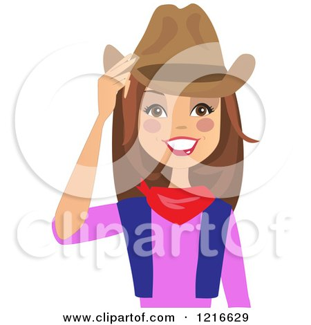 Clipart of a Happy Brunette Cowgirl Woman Touching Her Hat - Royalty Free Vector Illustration by peachidesigns