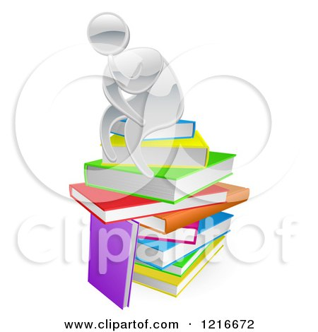 Clipart of a Silver Person Thining Atop a Stack of Books - Royalty Free Vector Illustration by AtStockIllustration