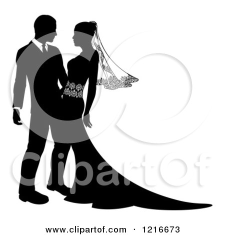 Clipart of a Black and White Silhouetted Wedding Couple Embracing 2 - Royalty Free Vector Illustration by AtStockIllustration