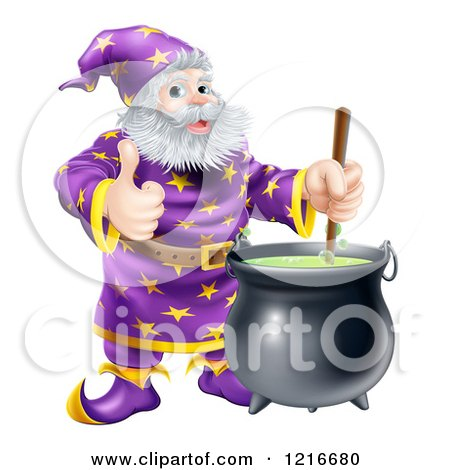 Clipart of a Wizard Holding a Thumb up and Stirring Contents in a Cauldron - Royalty Free Vector Illustration by AtStockIllustration