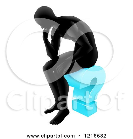 Clipart of a Silhoeutted Man Thinking on a Blue Question Mark - Royalty Free Vector Illustration by AtStockIllustration