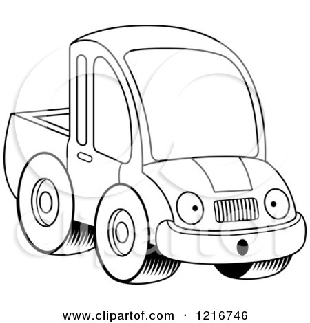 Clipart of a Black and White Surprised Pickup Truck Mascot - Royalty Free Vector Illustration by Cory Thoman