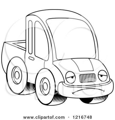 Clipart of a Black and White Depressed Pickup Truck Mascot - Royalty Free Vector Illustration by Cory Thoman