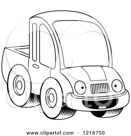 Clipart of a Black and White Happy Pickup Truck Mascot - Royalty Free Vector Illustration by Cory Thoman