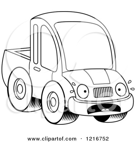 Clipart of a Black and White Scared Pickup Truck Mascot - Royalty Free Vector Illustration by Cory Thoman