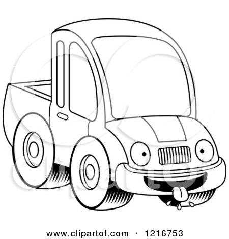Clipart of a Black and White Hungry Pickup Truck Mascot - Royalty Free Vector Illustration by Cory Thoman