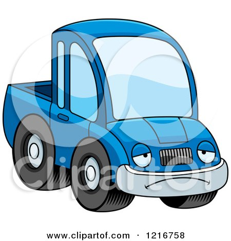 Clipart of a Depressed Blue Pickup Truck Mascot - Royalty Free Vector Illustration by Cory Thoman