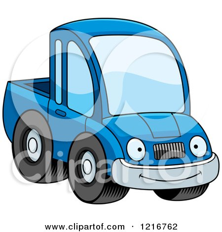 Clipart of a Happy Smiling Blue Pickup Truck Mascot - Royalty Free Vector Illustration by Cory Thoman
