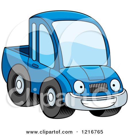 Clipart of a Happy Grinning Blue Pickup Truck Mascot - Royalty Free Vector Illustration by Cory Thoman