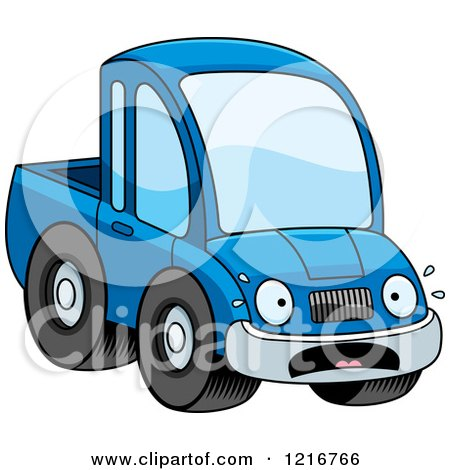 Clipart of a Scared Blue Pickup Truck Mascot - Royalty Free Vector Illustration by Cory Thoman