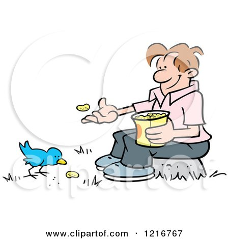 Clipart of a Happy Man Sitting on a Stump and Feeding a Bird Peanuts - Royalty Free Vector Illustration by Johnny Sajem