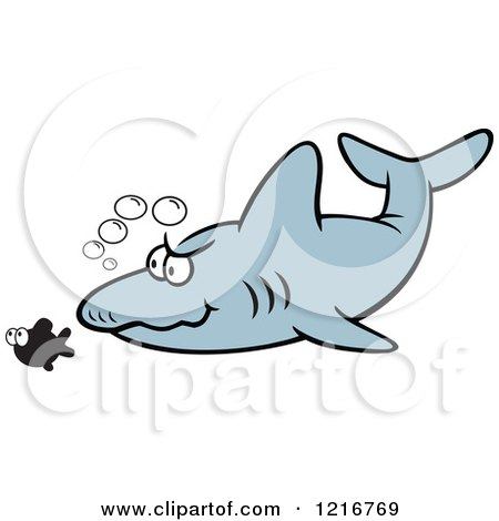 Clipart of a Shark Stalking Its Prey - Royalty Free Vector Illustration by Johnny Sajem