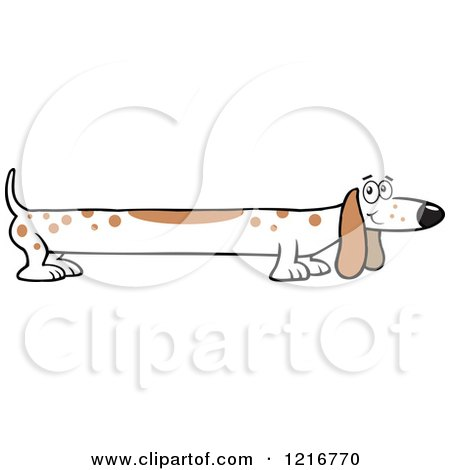 Clipart of a Long White Dog with Brown Spots - Royalty Free Vector Illustration by Johnny Sajem
