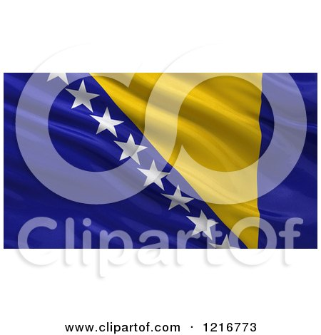 Clipart of a 3d Waving Flag of Bosnia and Herzegovina with Rippled Fabric - Royalty Free Illustration by stockillustrations