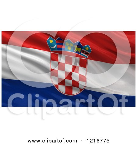 Clipart of a 3d Waving Flag of Croatia with Rippled Fabric - Royalty Free Illustration by stockillustrations