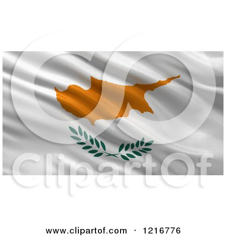 Clipart of a 3d Waving Flag of Cyprus with Rippled Fabric - Royalty Free Illustration by stockillustrations