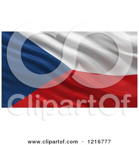 Clipart of a 3d Waving Flag of Czech Republic with Rippled Fabric - Royalty Free Illustration by stockillustrations