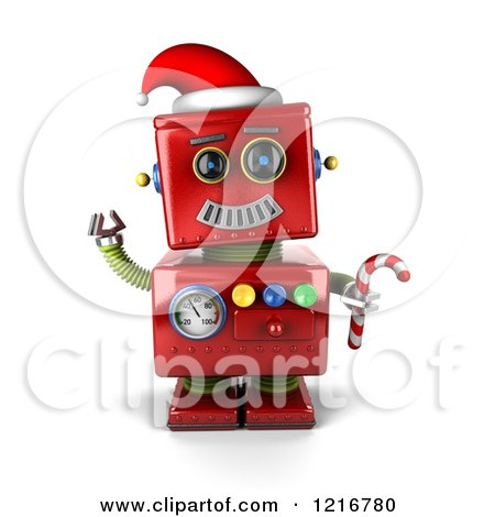 Clipart of a 3d Vintage Red Christmas Robot Sledding - Royalty Free Illustration by stockillustrations