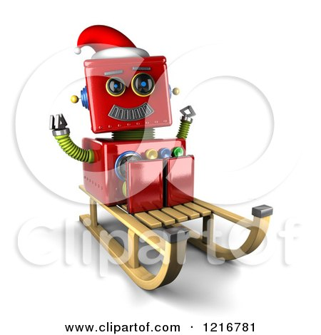Clipart of a 3d Vintage Red Christmas Robot on a Sled - Royalty Free Illustration by stockillustrations