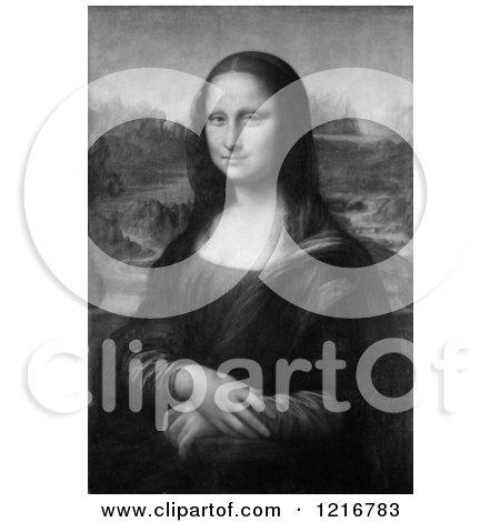 Clipart Of A Black And White Mona Lisa Oil on Poplar Painting Originally by Leonardo da Vinci - Royalty Free Illustration by Picsburg