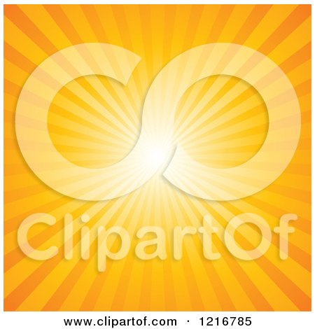 Clipart of a Background of Bright Sun Rays in Orange - Royalty Free Vector Illustration by Pushkin