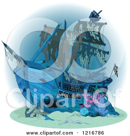 Clipart of a Sunken Pirate Ship - Royalty Free Vector Illustration by Pushkin