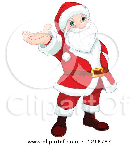 Clipart of a Cartoon Santa Claus Holding up His Hand - Royalty Free Vector Illustration by Pushkin
