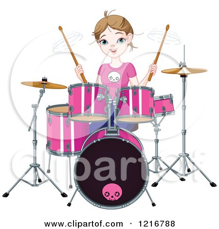 Clipart of a Happy Teenage Drummer Girl - Royalty Free Vector Illustration by Pushkin