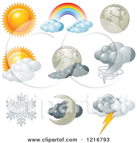 Clipart of Weather Icons for Different Conditions - Royalty Free Vector Illustration by Pushkin