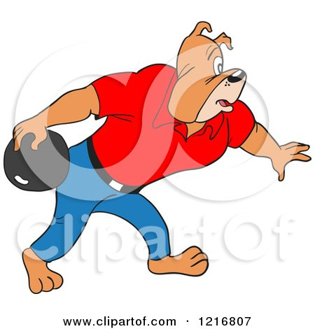 Clipart of a Bulldog Bowling - Royalty Free Vector Illustration by LaffToon