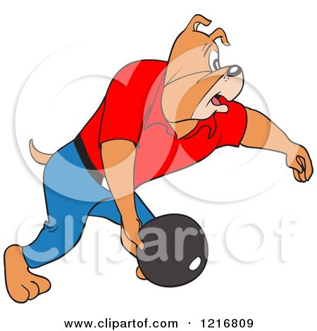 Clipart of a Bulldog Swinging a Bowling Ball - Royalty Free Vector Illustration by LaffToon