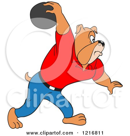 Clipart of a Bulldog Swinging His Arm Far Back with a Bowling Ball - Royalty Free Vector Illustration by LaffToon
