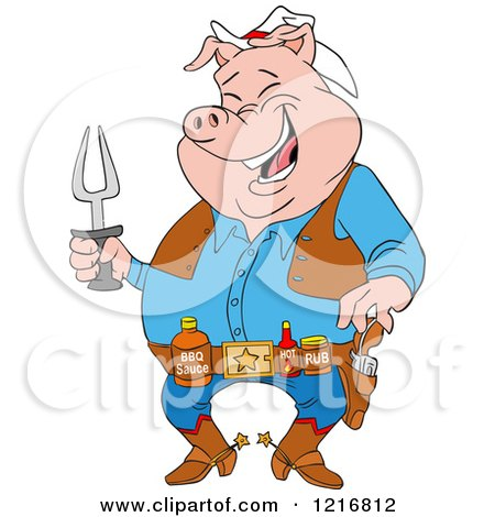 Clipart Of A Laughing Cowboy Pig Holding A Bbq Fork And Wearing Sauces On A Belt Royalty Free Vector Illustration
