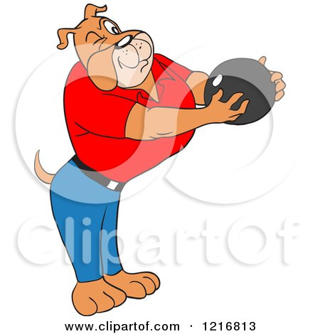 Bulldog Holding a Bowling Ball and Aiming Posters, Art Prints
